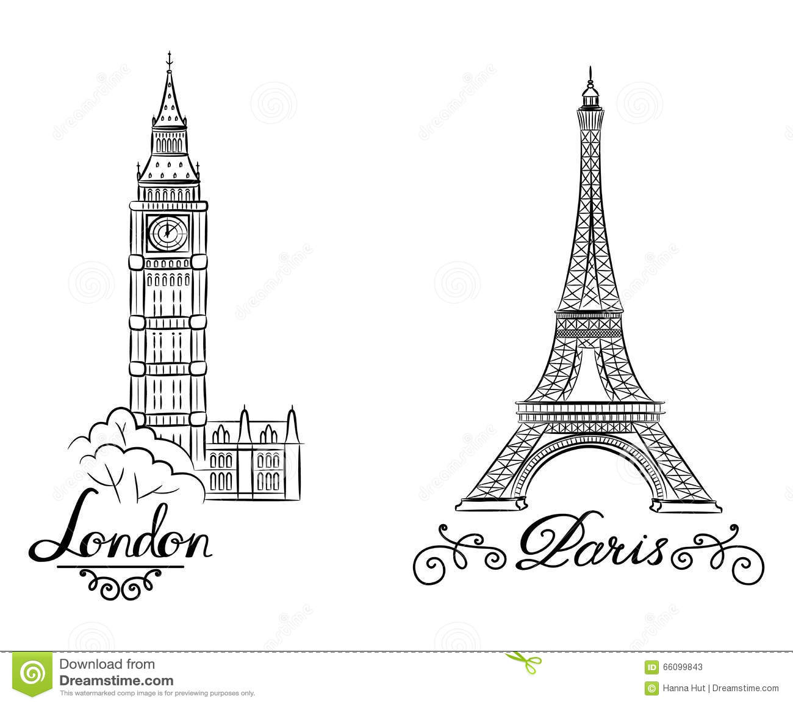 Hand Sketch World Famous Landmark Collection Big Ben