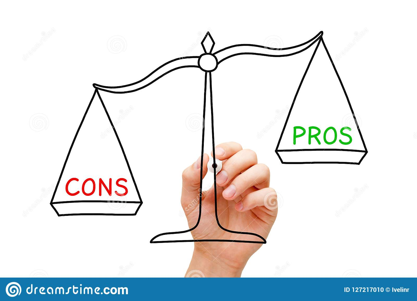 More Cons Than Pros Scale Concept Stock Photo