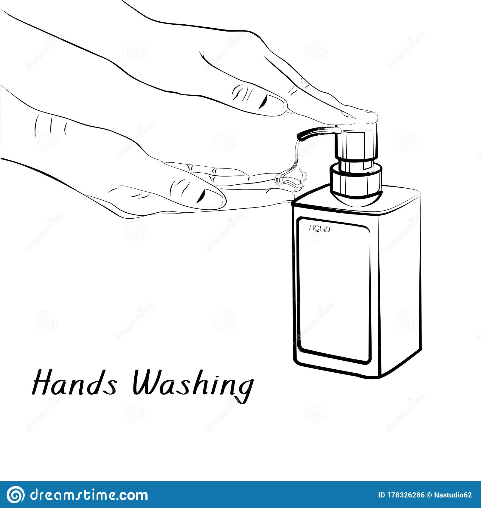 Hand Washing For Healthy Outline Icons Vector Stock