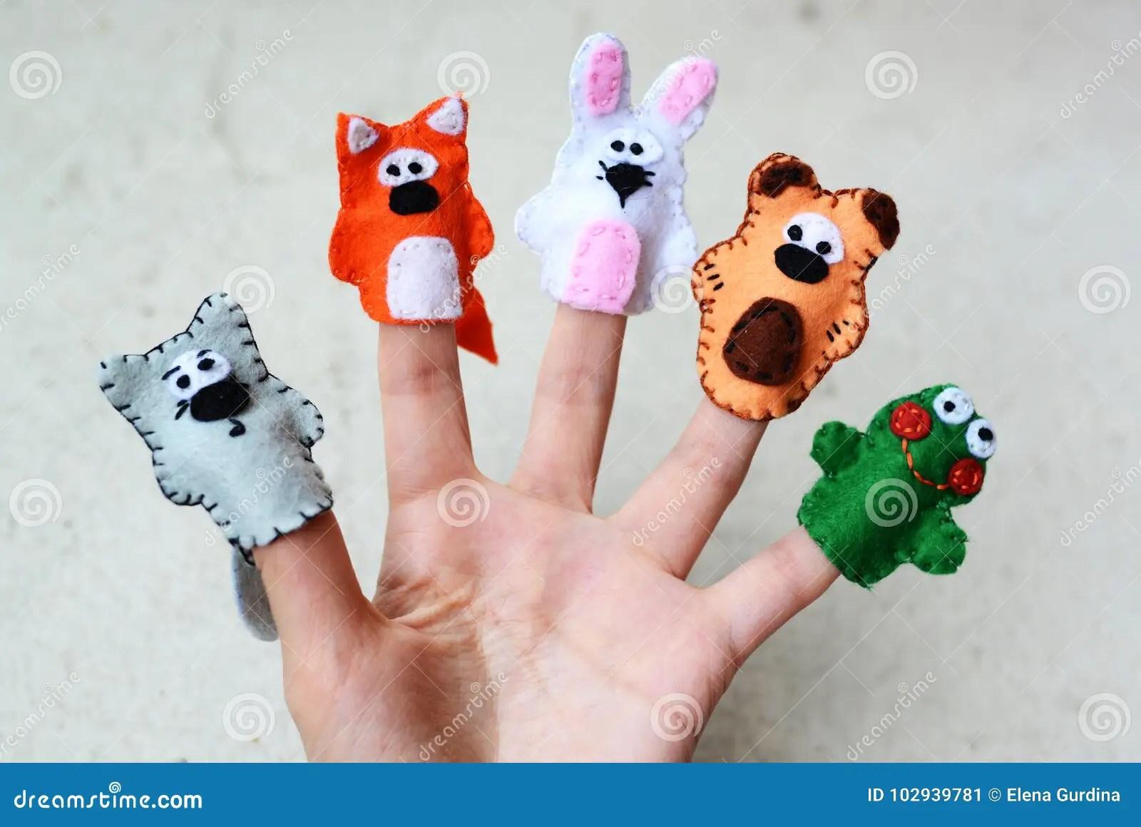 5 Finger Puppets Wolf Fox Rabbit Bear Frog Stock Image