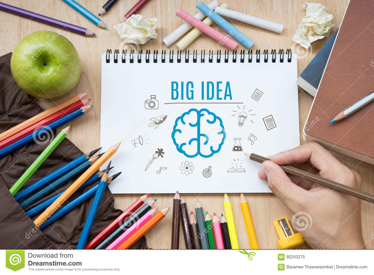 Hand Writing Brainstorming With Big Idea Creative Stock
