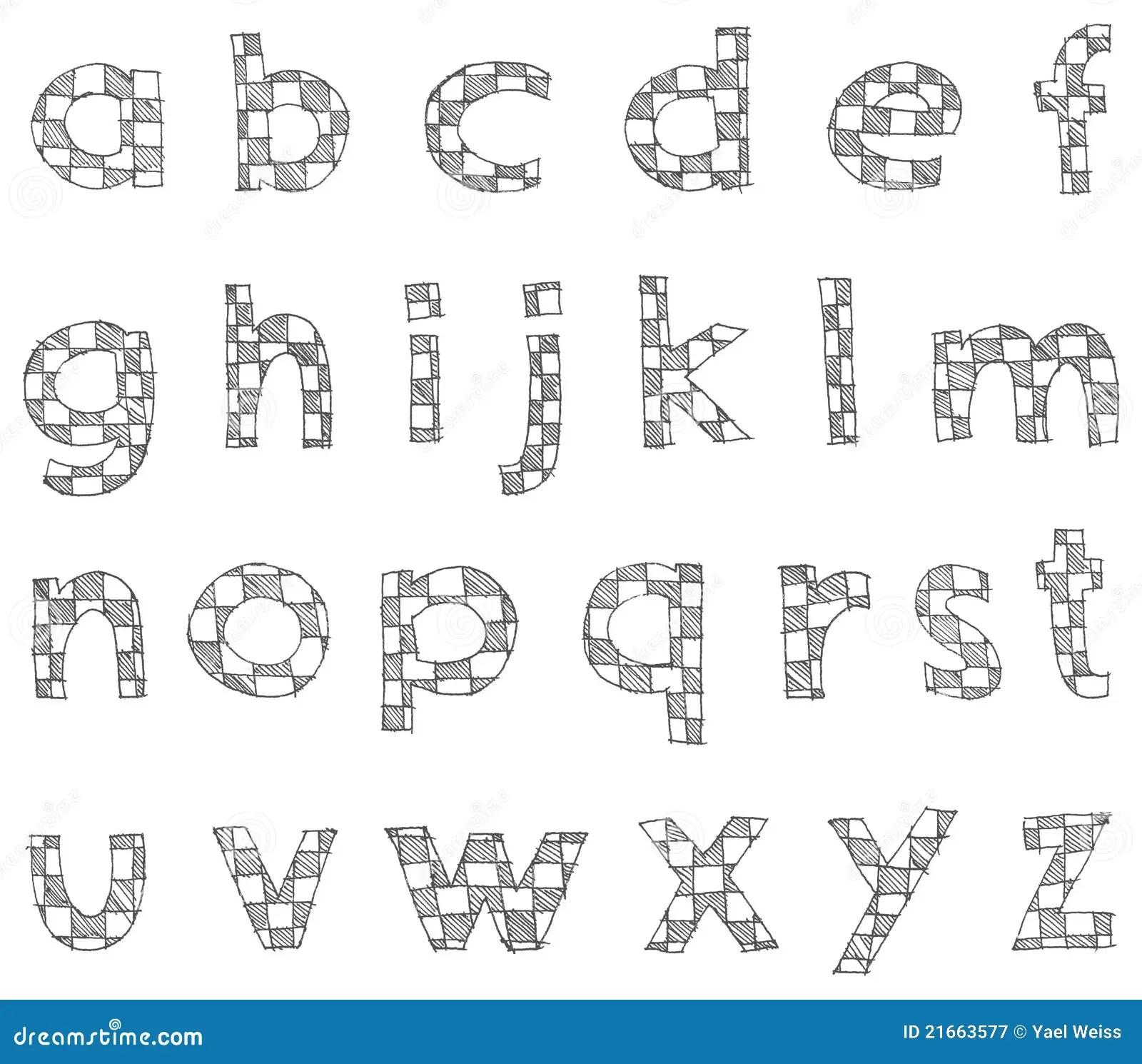 Hand Written Checkered Lower Case Alphabet Stock Vector