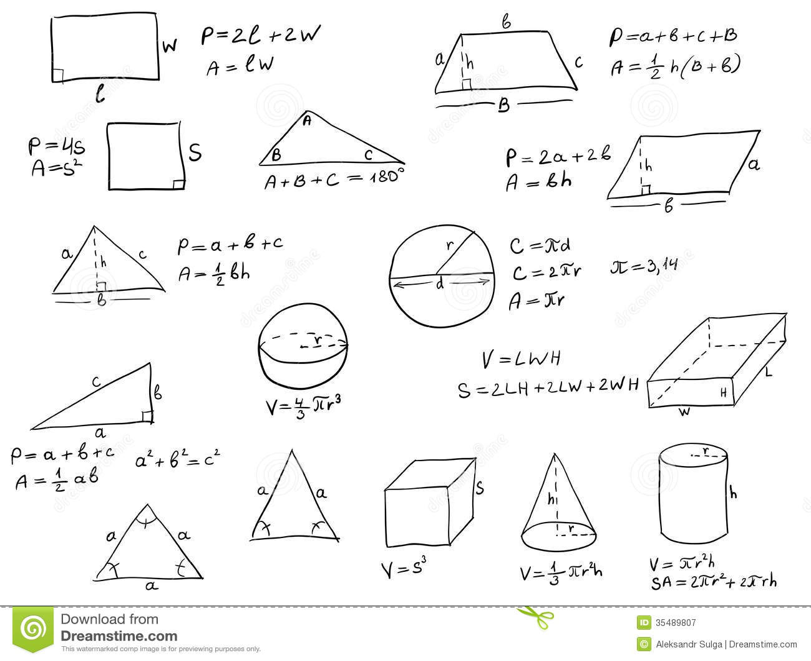 Hand Written Geometry Formulas Stock Vector