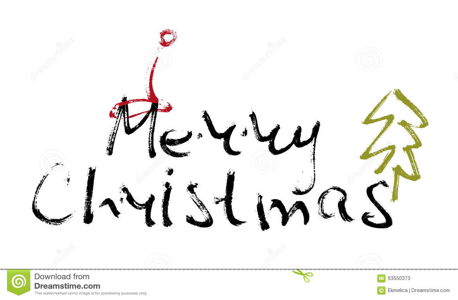 Hand Written Inscription Merry Christmas Stock Vector