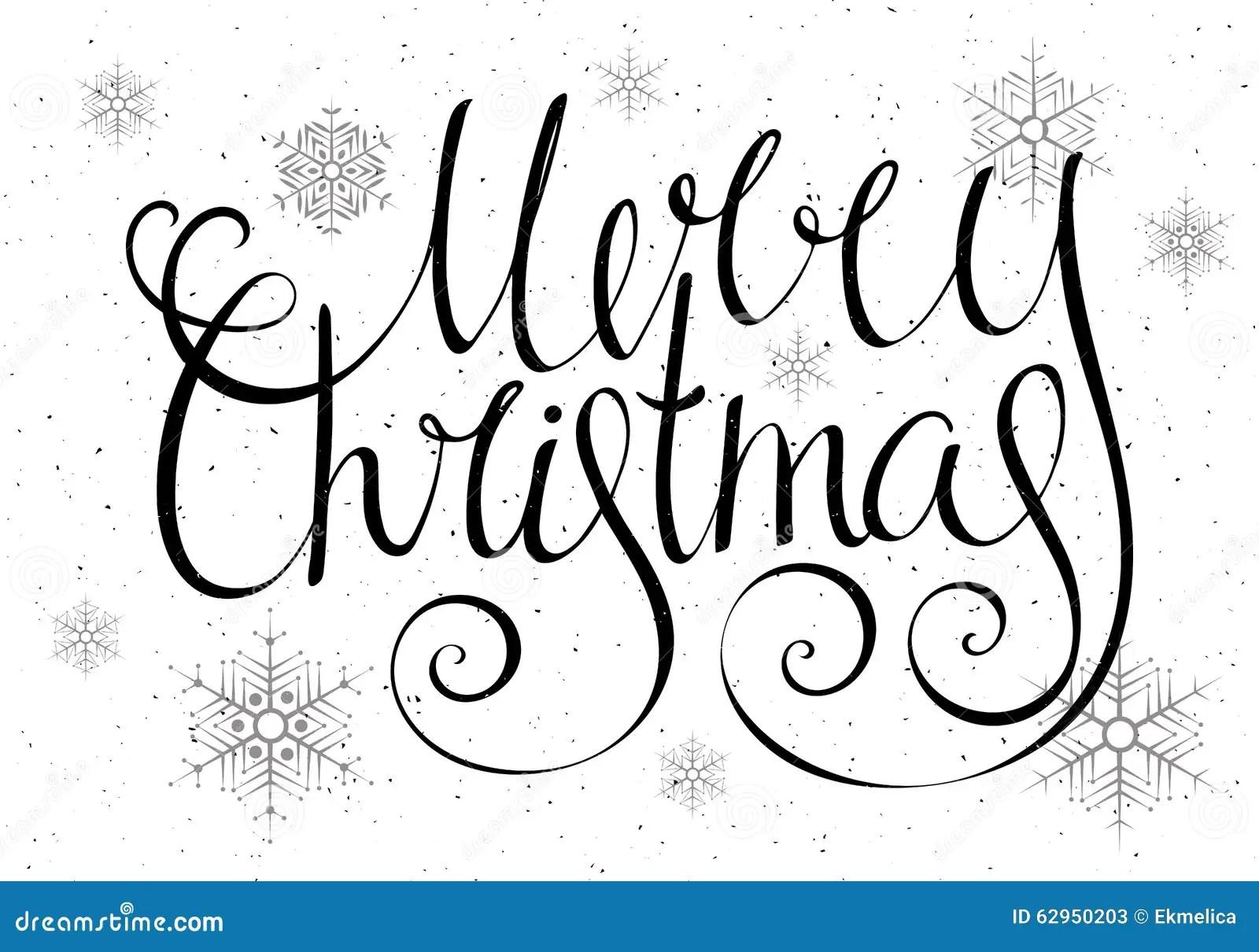 Handdrawn Calligraphic Inscription Merry Christmas Stock