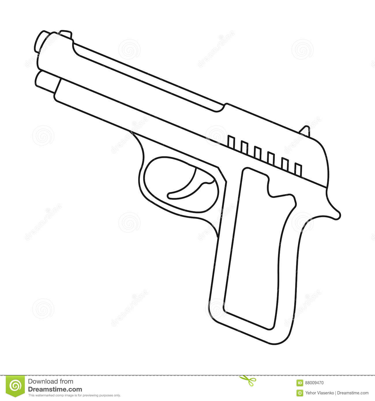 Handgun Icon In Outline Style Isolated On White Background