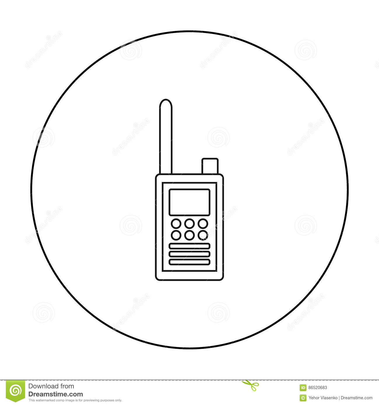 Handheld Transceiver Icon In Cartoon Style Isolated On