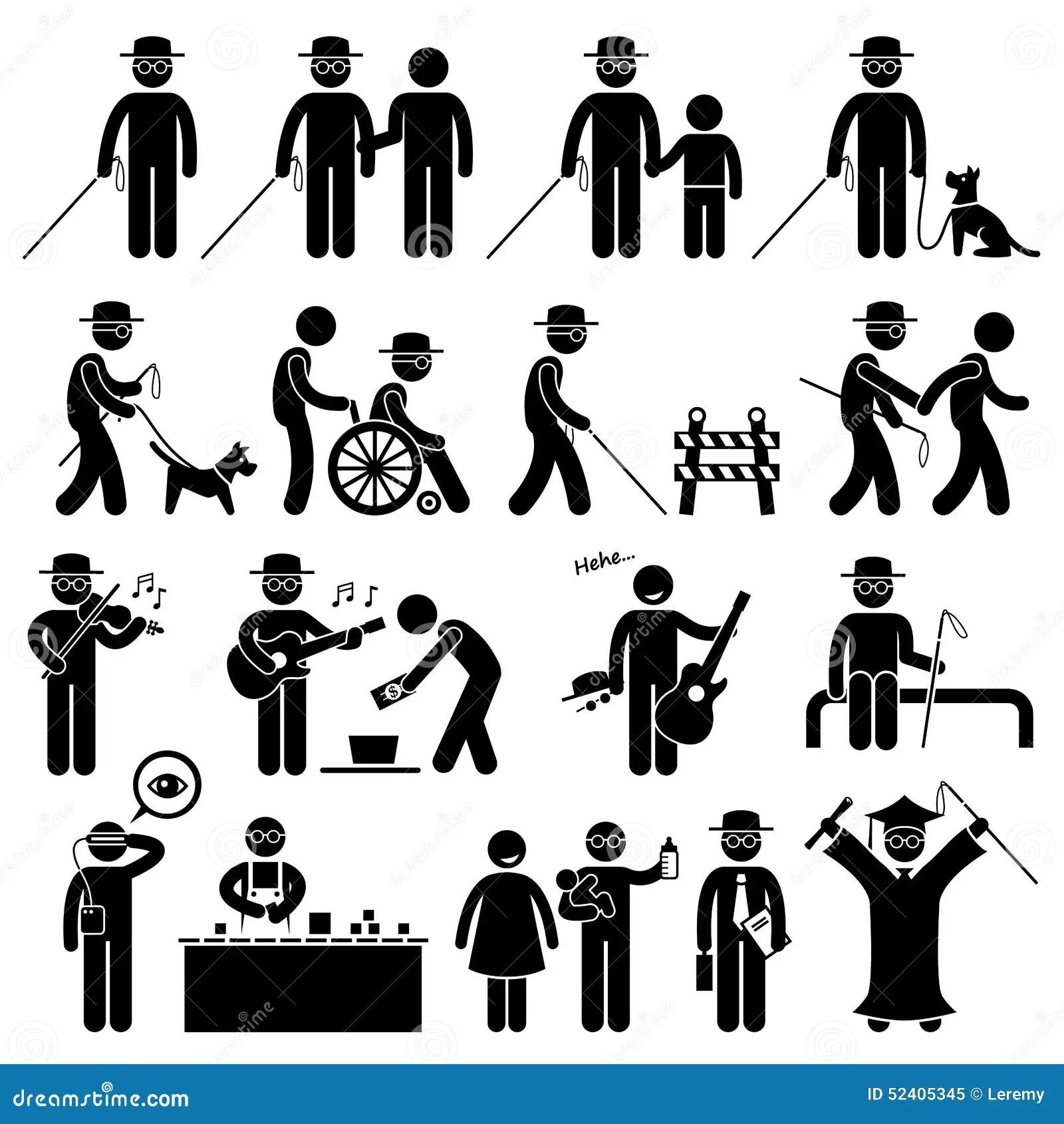 Handikapp Cliparts For Blind Man Vektor Illustrationer