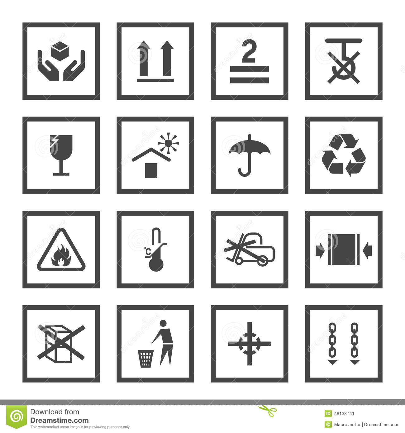 Handling And Packing Symbols Stock Vector