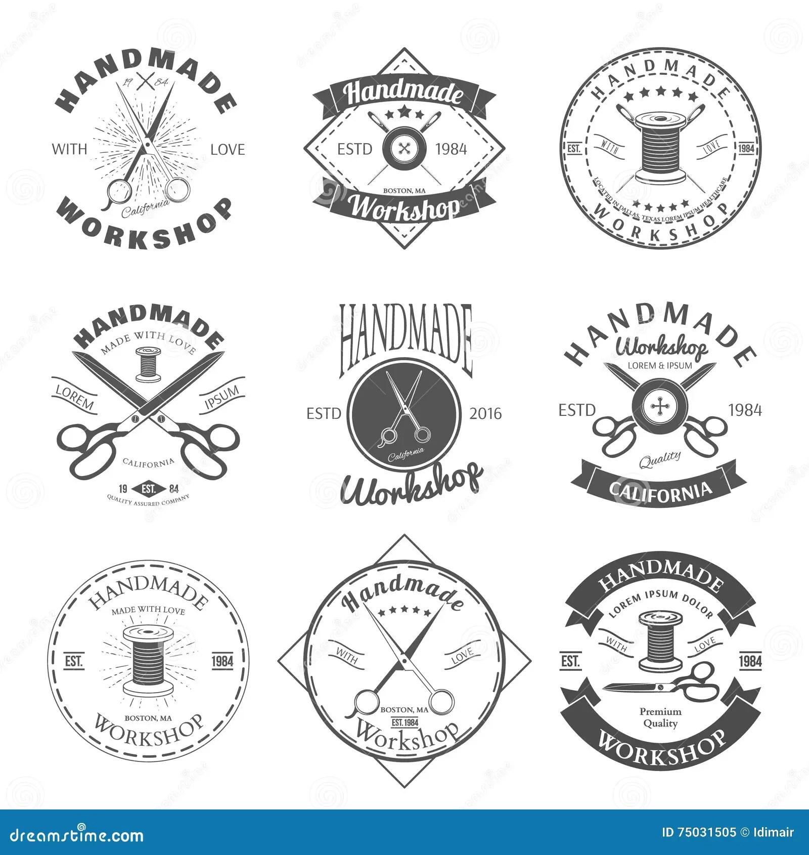 Handmade Workshop Logo Vintage Vector Set Hipster And