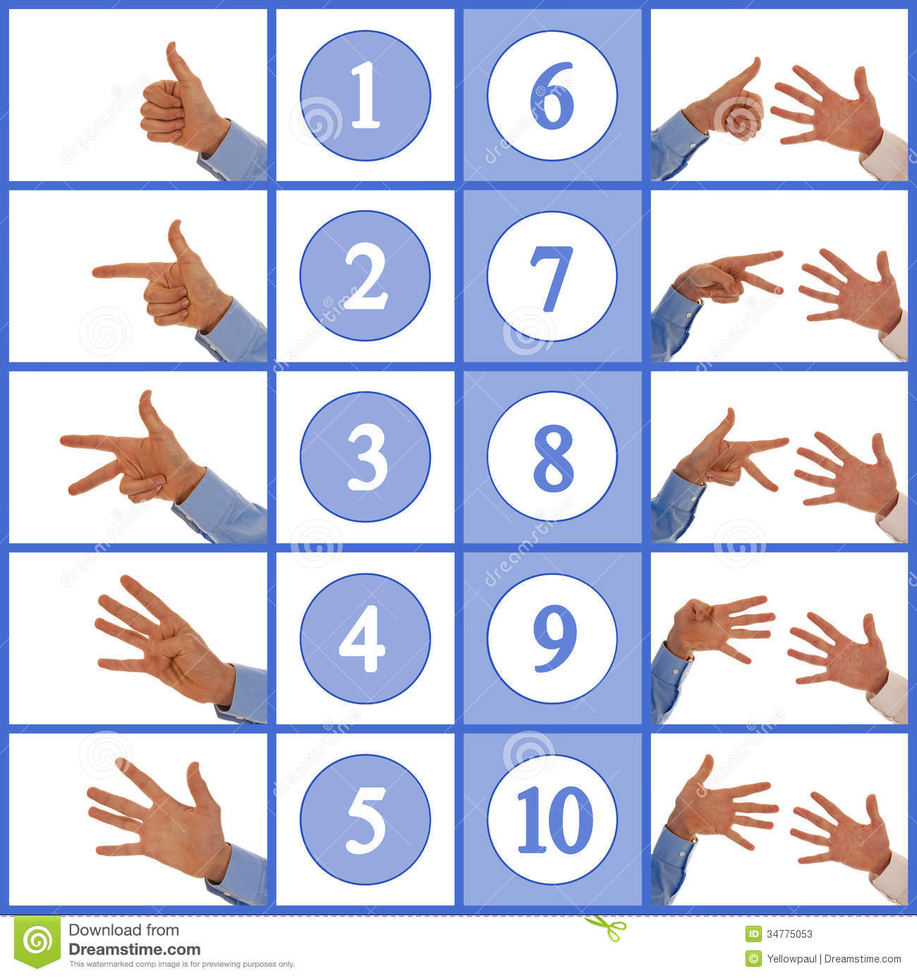 Hands Figuring Numbers One To Ten Stock Photos