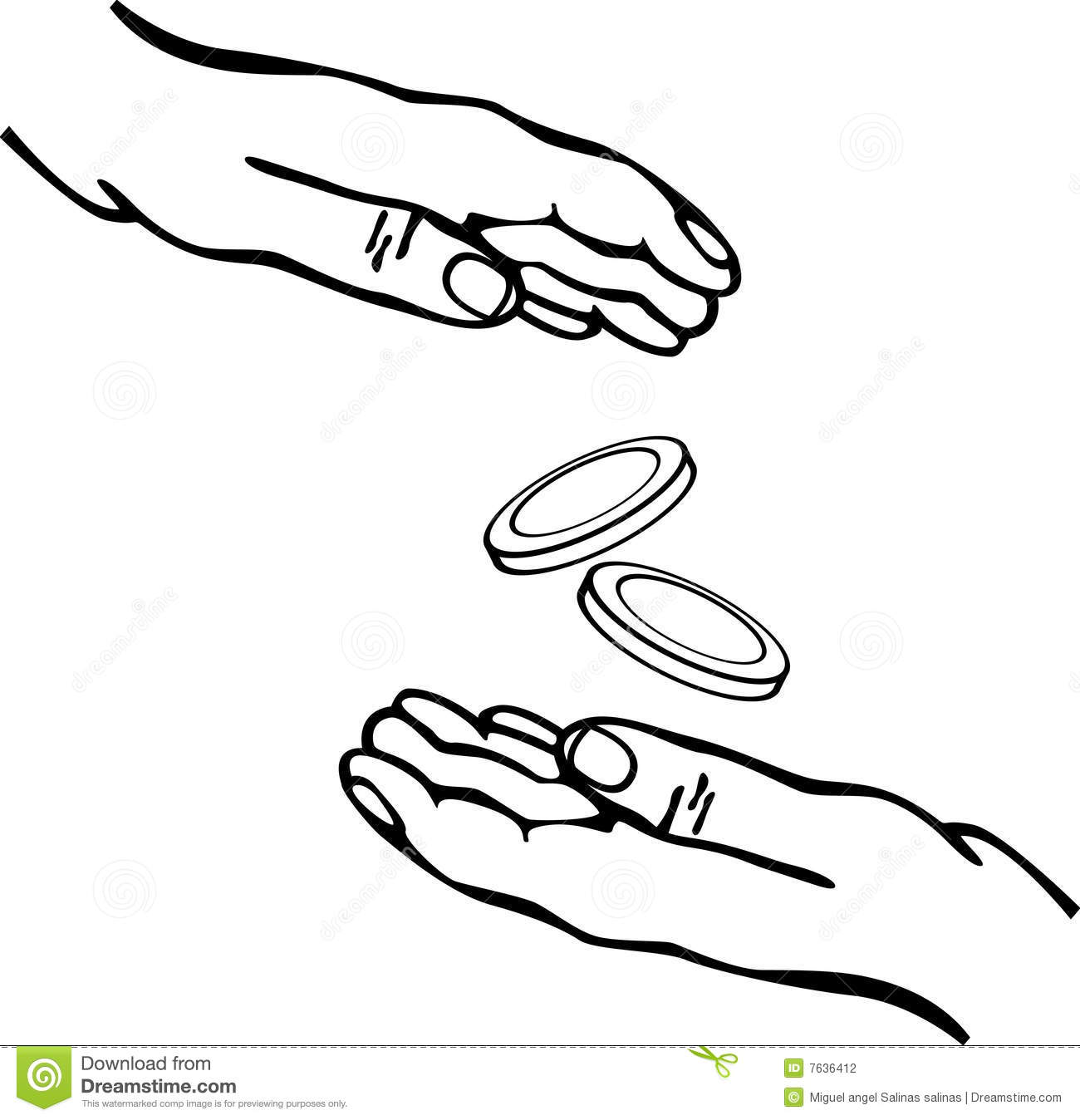 Hands Giving And Receiving Money Vector Stock Photography