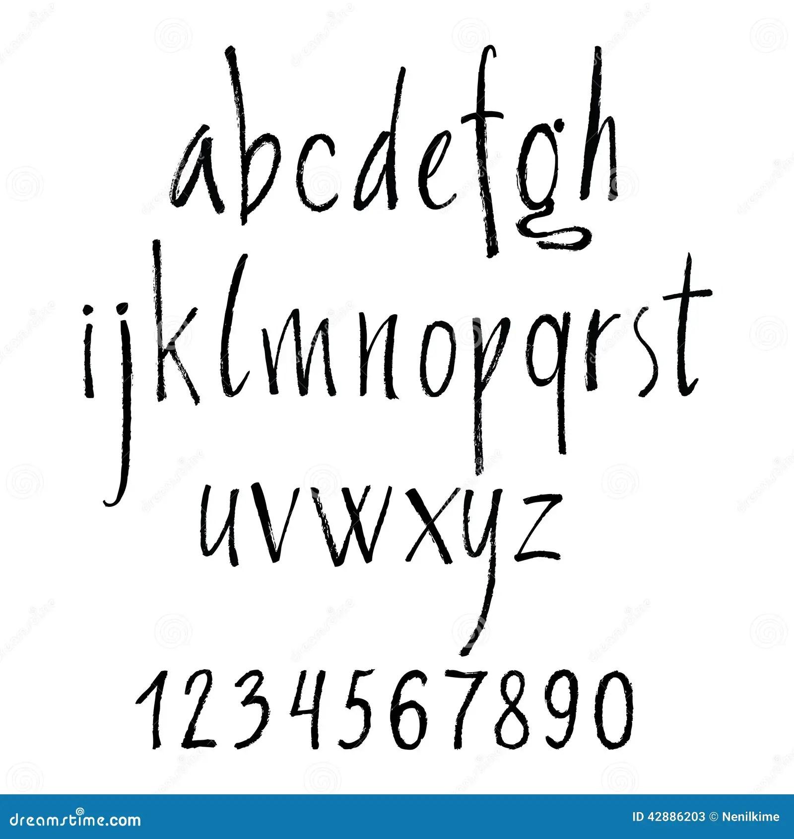 Handskrivna Calligraphic Bokstaver Av Alfabetet Som Ar