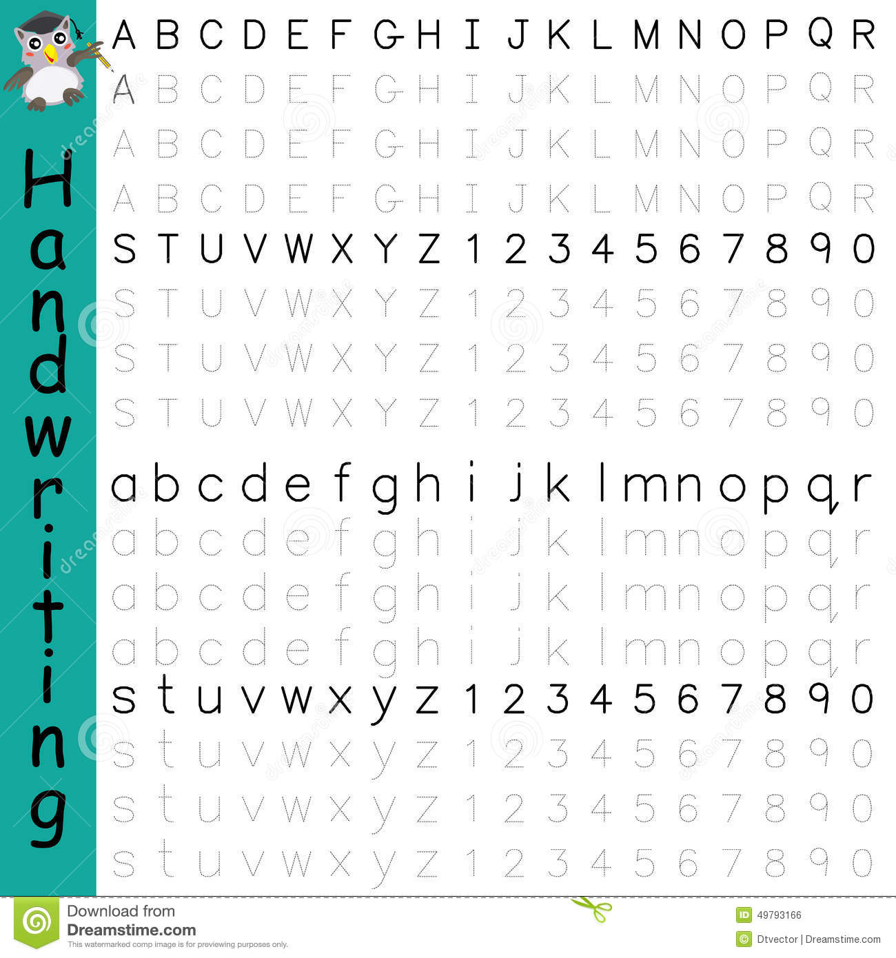 Handwriting Alphabet Number Stock Vector