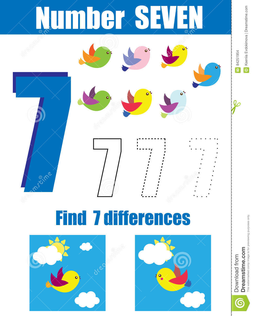 Handwriting Practice Learning Mathematics And Numbers Number Seven Educational Children Game
