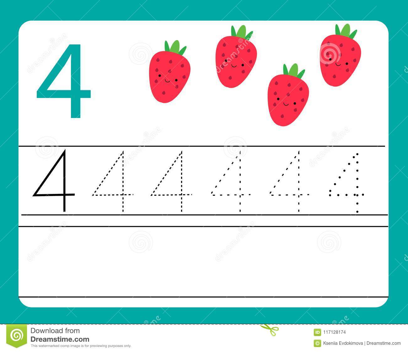 Handwriting Practice Learning Numbers With Cute Characters Number Four Educational Printable