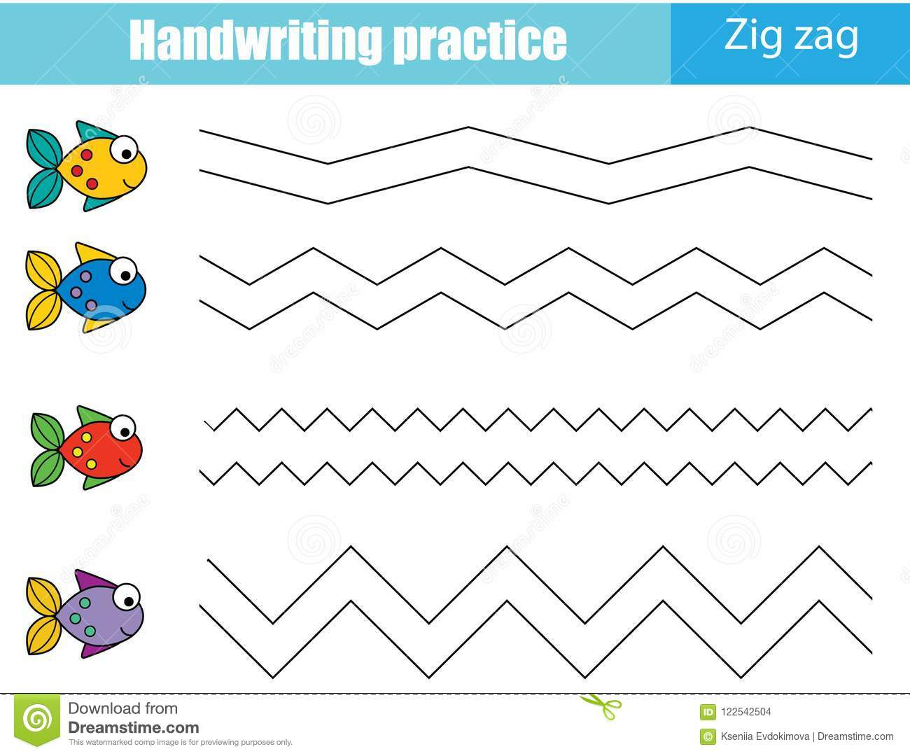 Handwriting Practice Sheet Educational Children Game Printable Worksheet For Kids Zig Zag