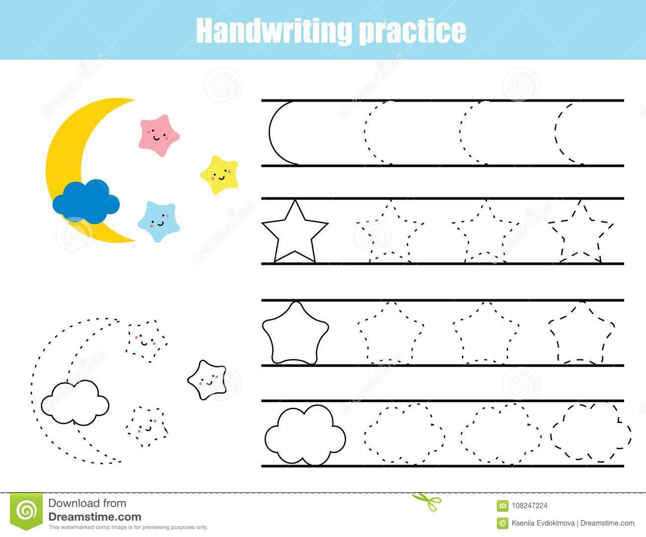 Handwriting Practice Sheet Educational Children Game Printable Worksheet For Kids Writing