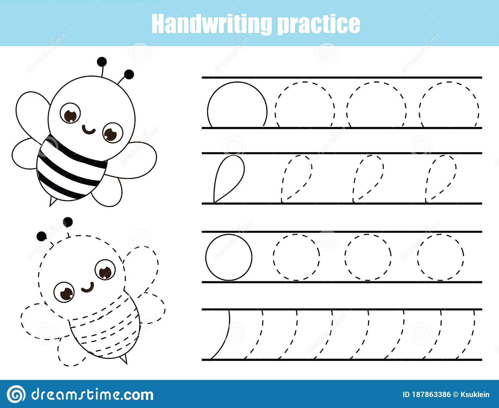Handwriting Practice Sheet With Funny Bee Educational
