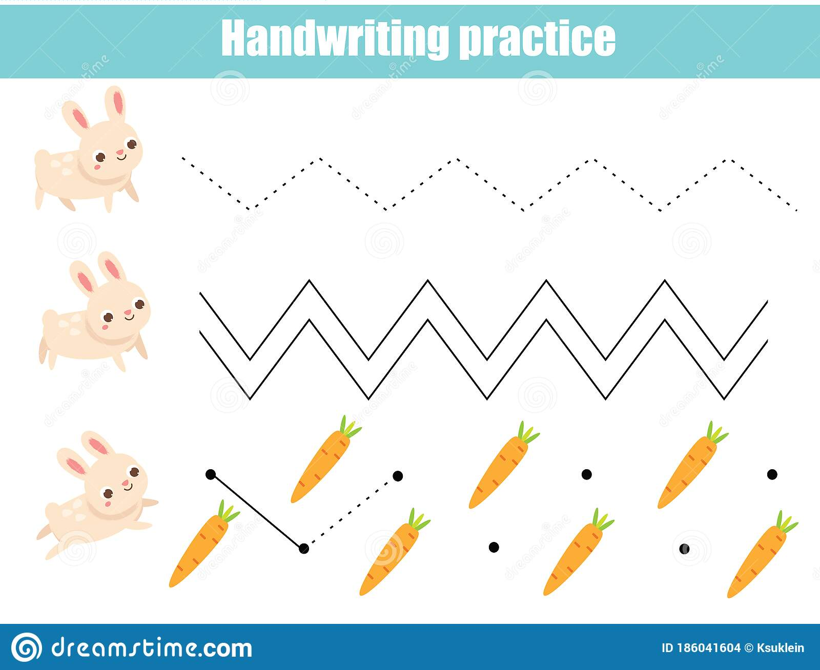 Handwriting Practice Sheet With Funny Rabbit Educational