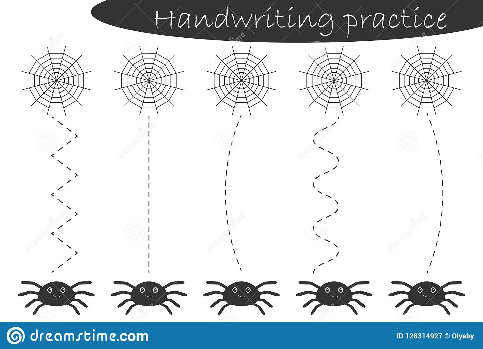 Handwriting Practice Sheet Halloween Theme Cobweb And