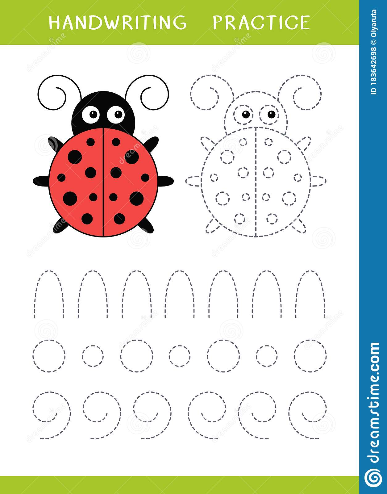 Handwriting Practice Sheet With Ladybird And Circle Shapes