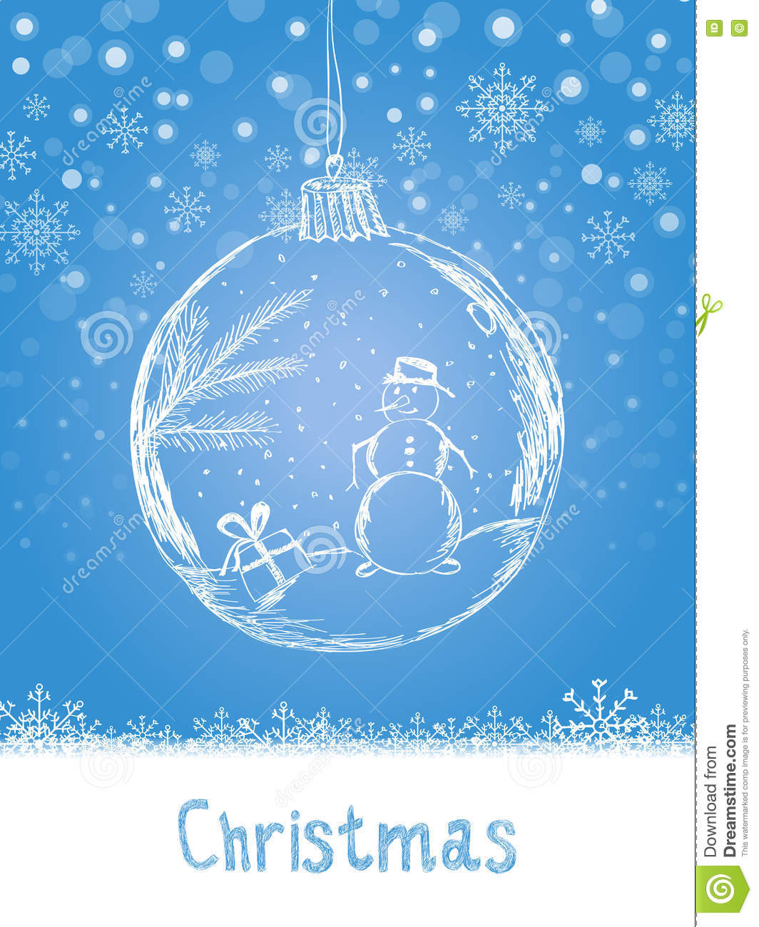 Handwriting Xmas Card With Ball And Snowman For Merry