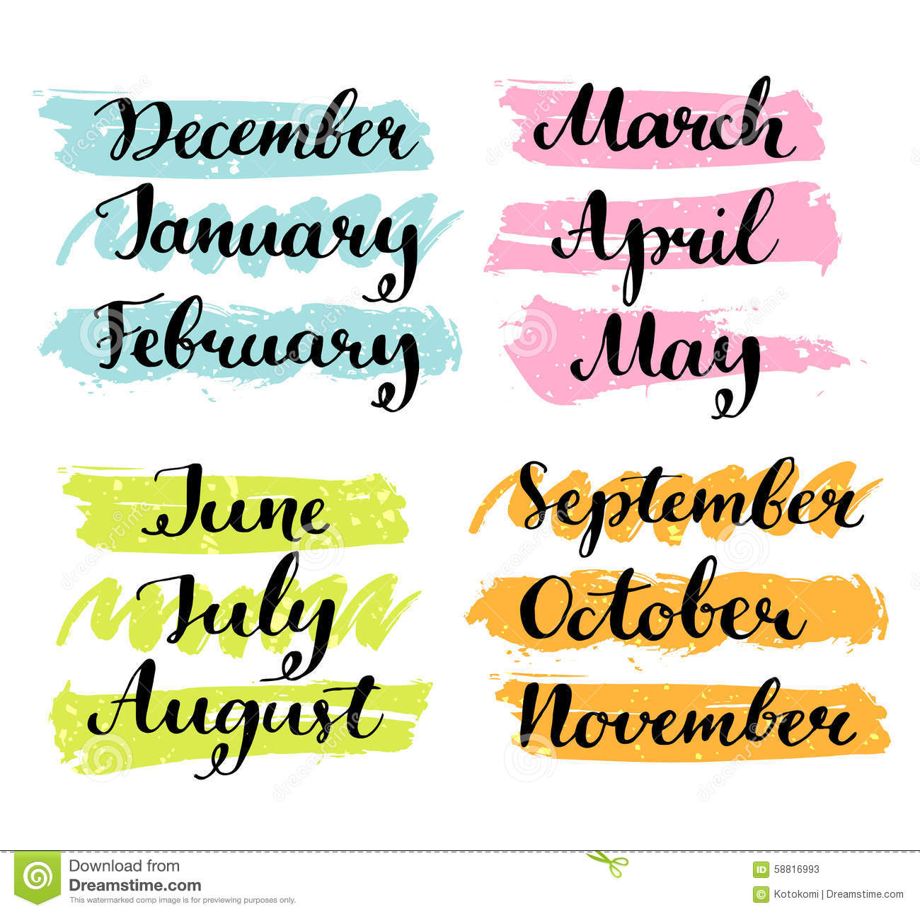 Handwritten Months Of The Year Calligraphy Words Stock