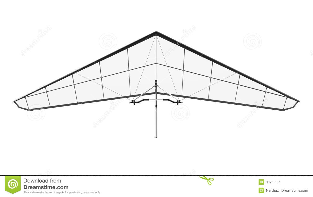 Hang Glider Isolated On White Background Stock Photo
