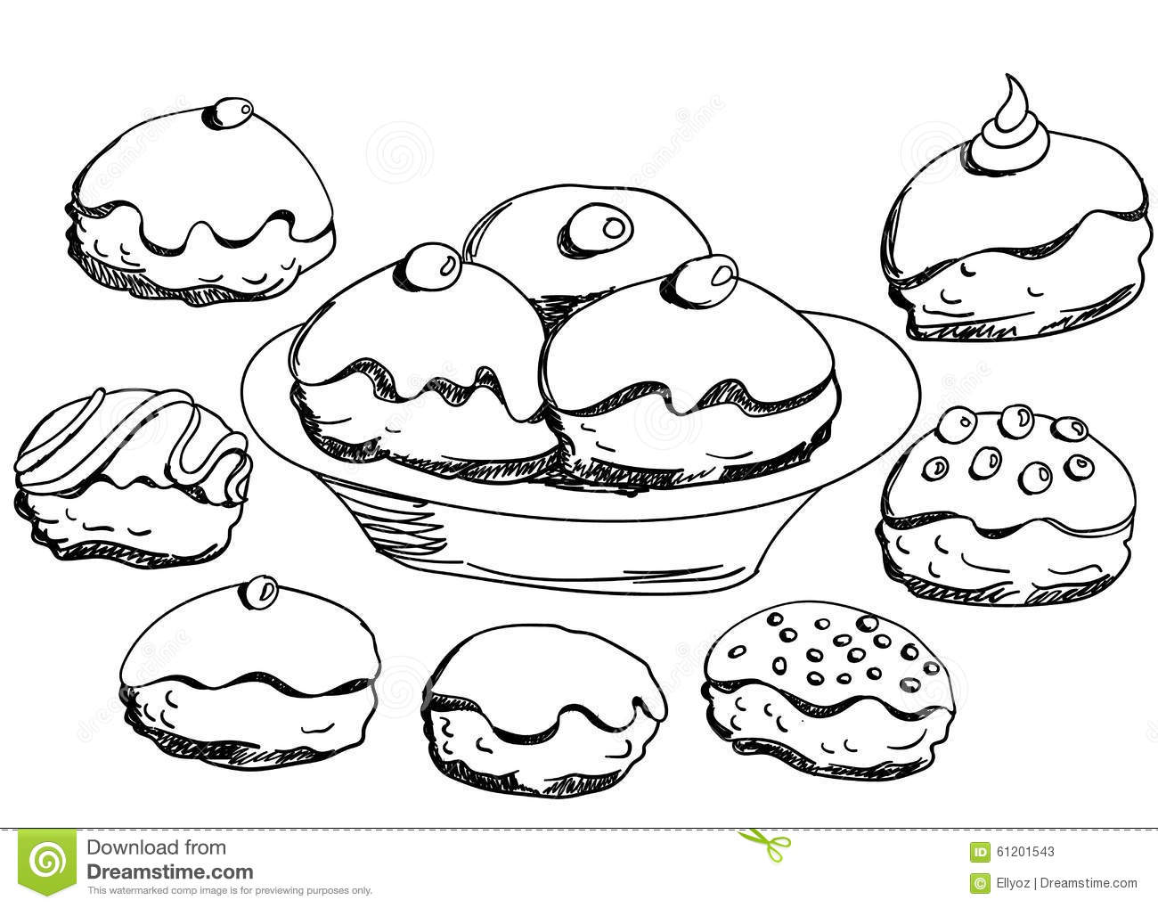 Hanukkah Donuts Set Stock Vector