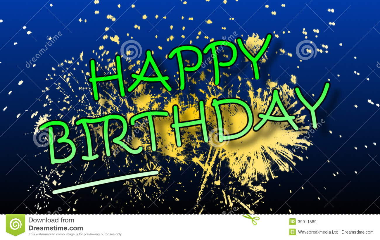 Happy Birthday Animation With Fireworks Stock Video Video Of Decoration Happiness 39911589