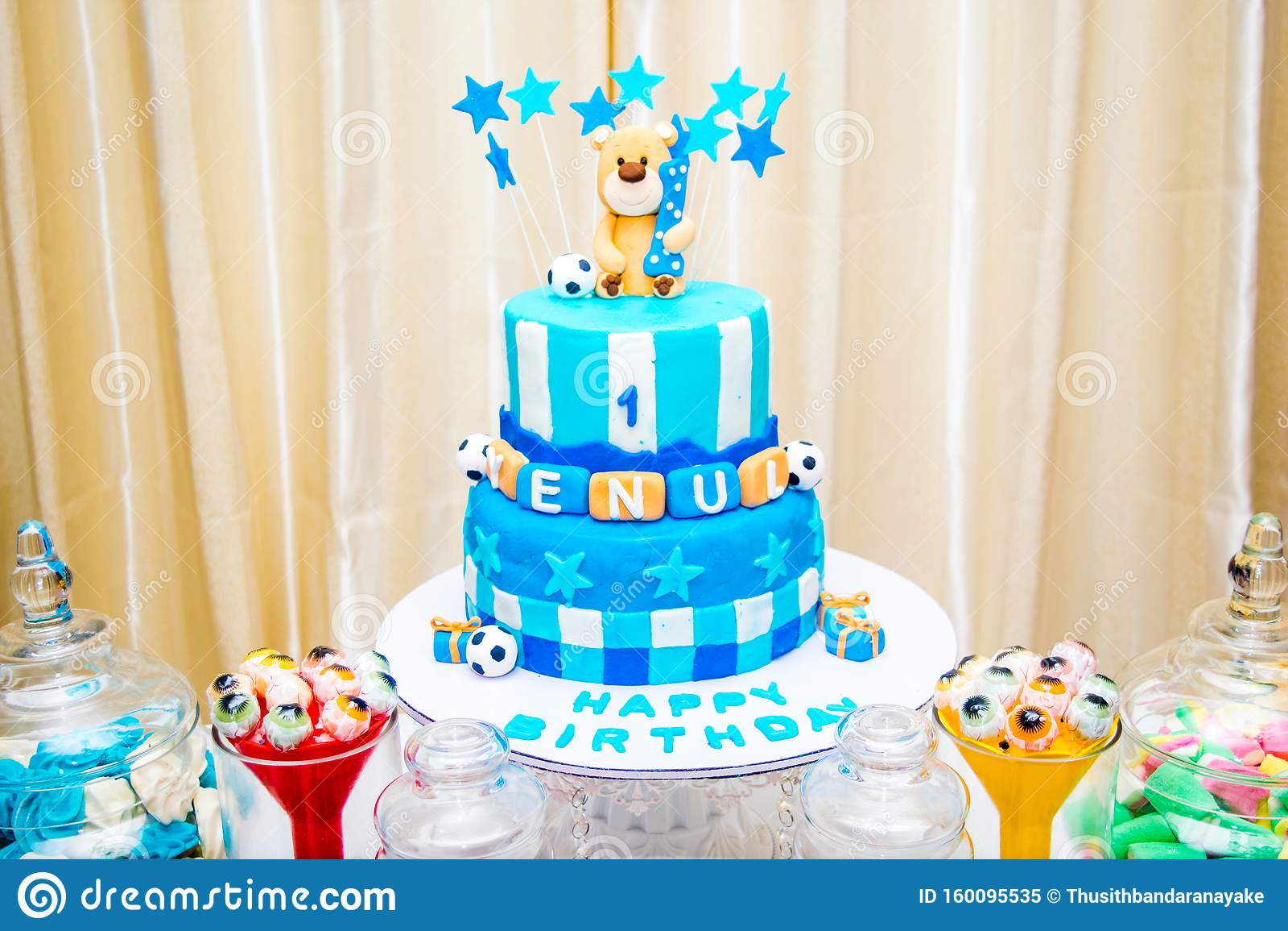 Happy Birthday Cake With Blue Theme Stock Image Image Of Designthis Boyunique 160095535