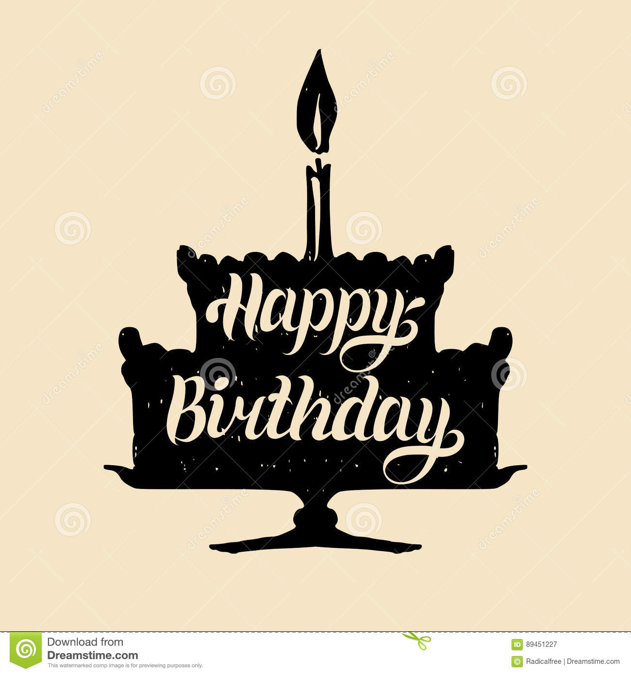 Happy Birthday Cake With One Candle Vector Hand Lettering