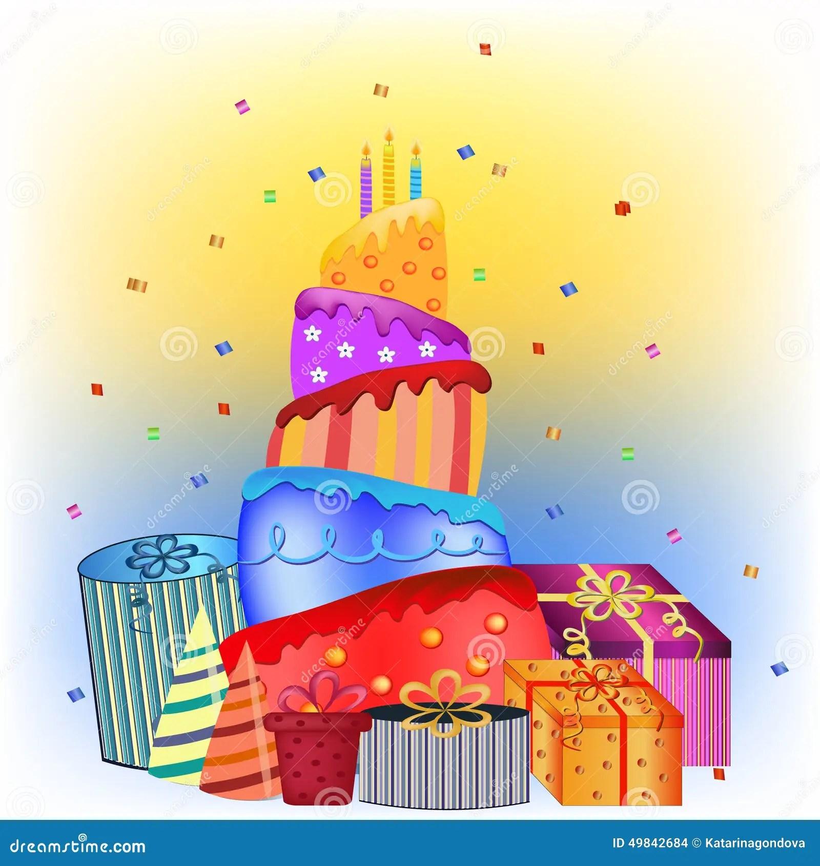 Happy Birthday Cake And Presents Stock Vector Illustration Of Happy Cake 49842684