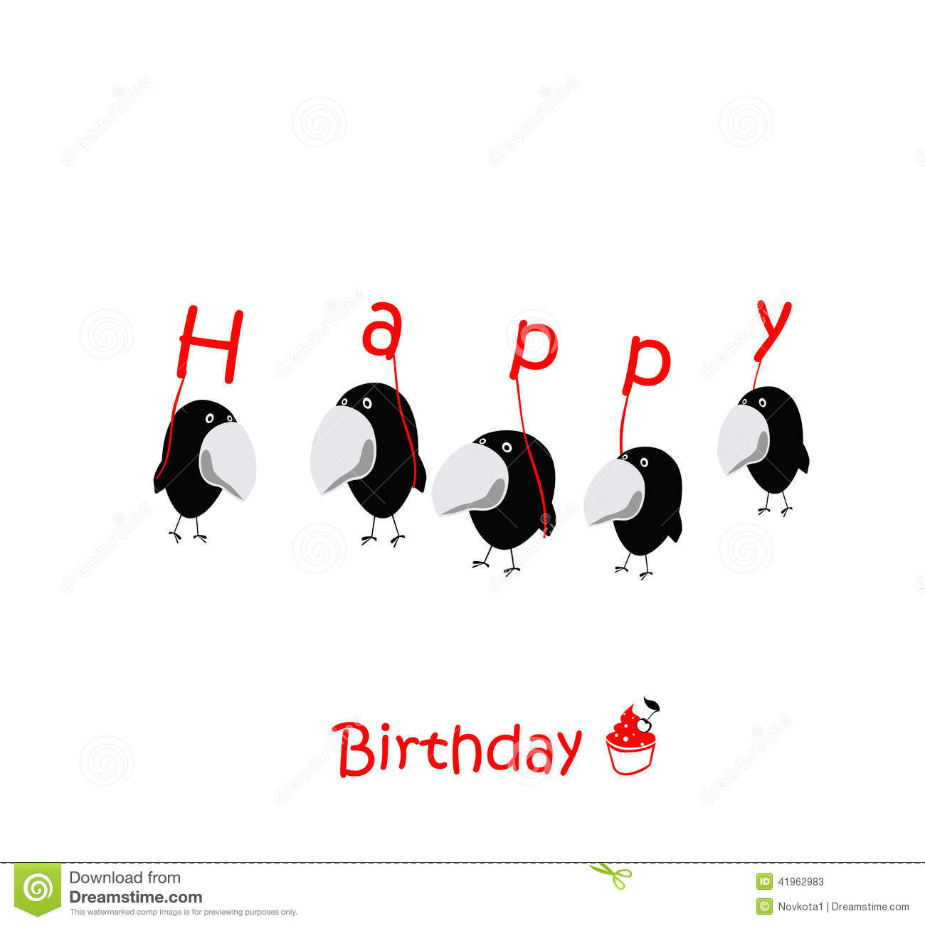 Happy Birthday Cards Birds Funny Stock Illustration