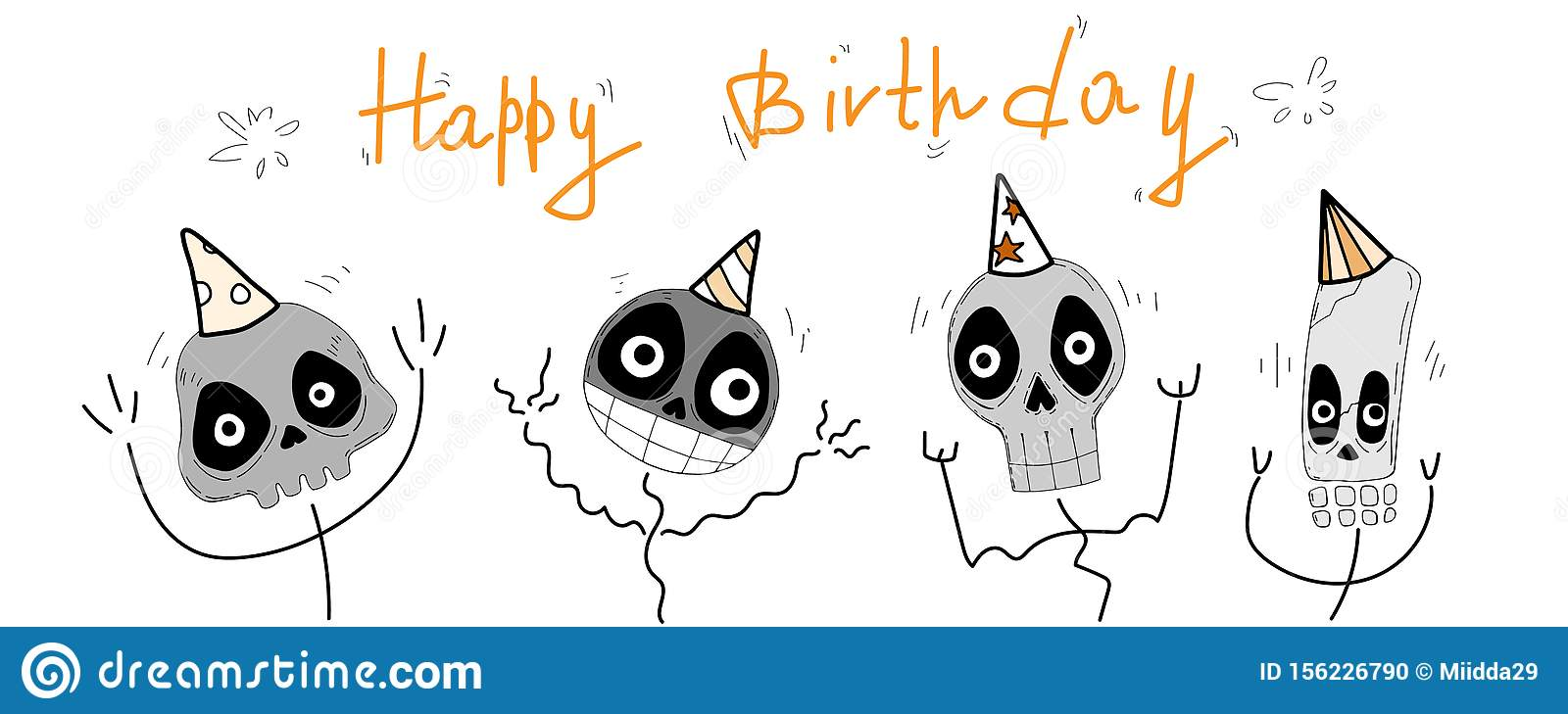 Happy Birthday Cartoon Vector Greeting Card With Funny Cute Skulls Lettering And Decorative Elements Stock Vector Illustration Of Anatomy Face 156226790