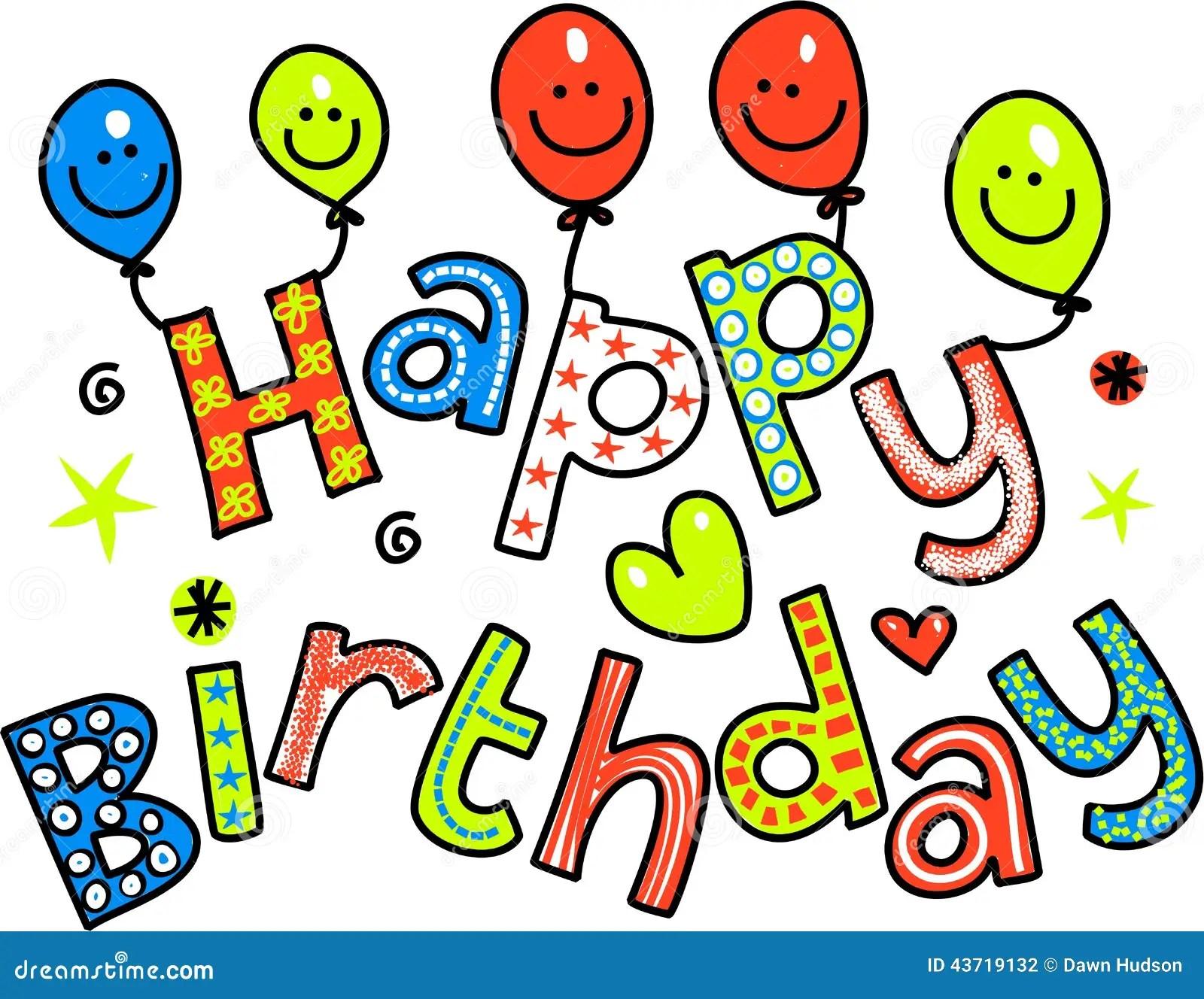 Happy Birthday Celebration Text Stock Illustration