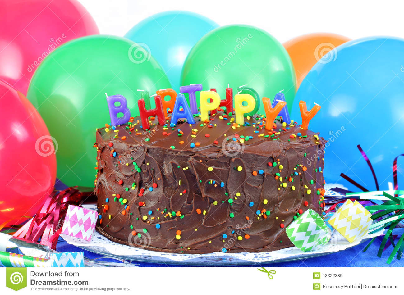 Happy Birthday Chocolate Cake And Balloons Royalty Free