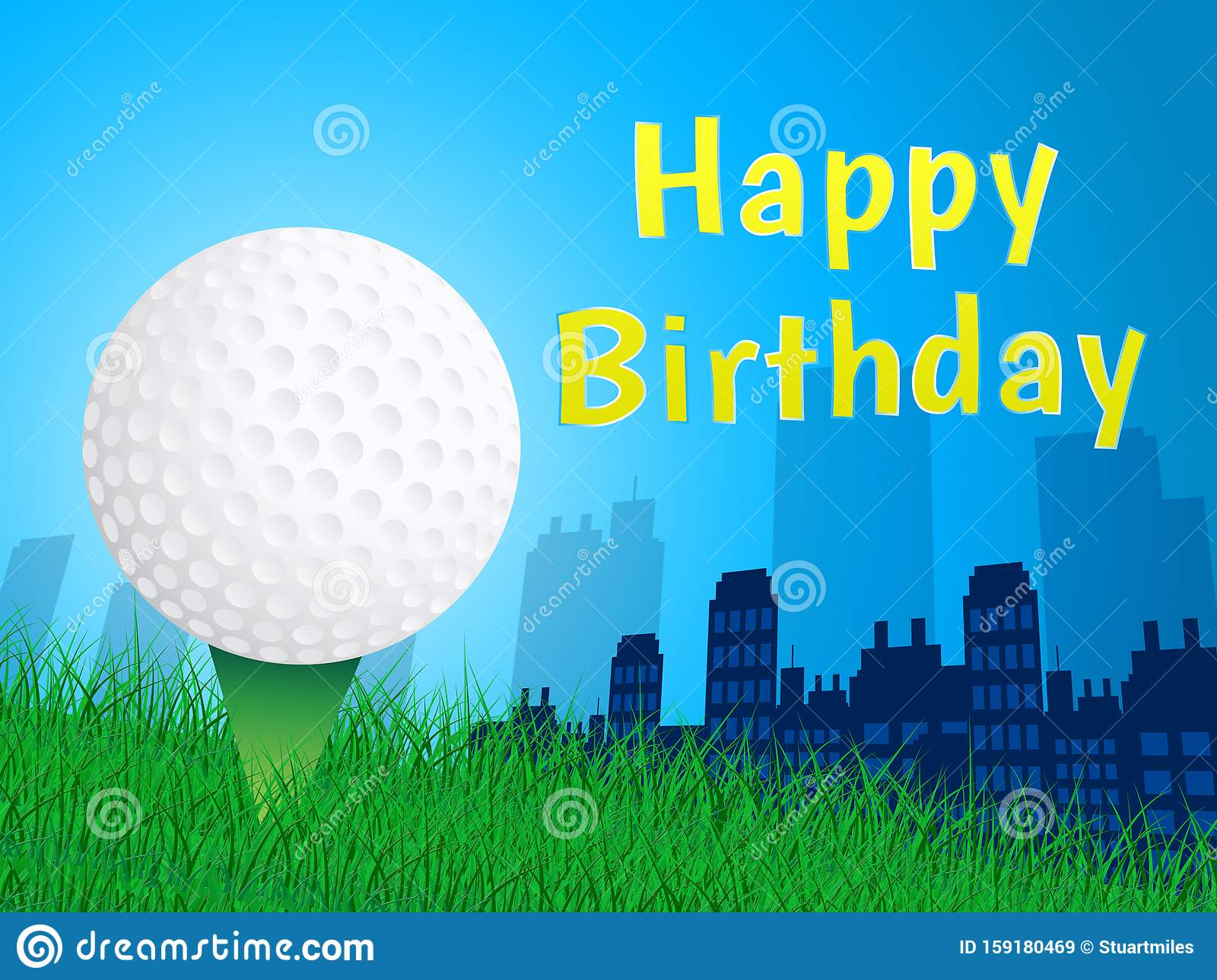Happy Birthday Golfer Message As Surprise Greeting For Golf Player 3d Illustration Stock Illustration Illustration Of Golfing Message 159180469