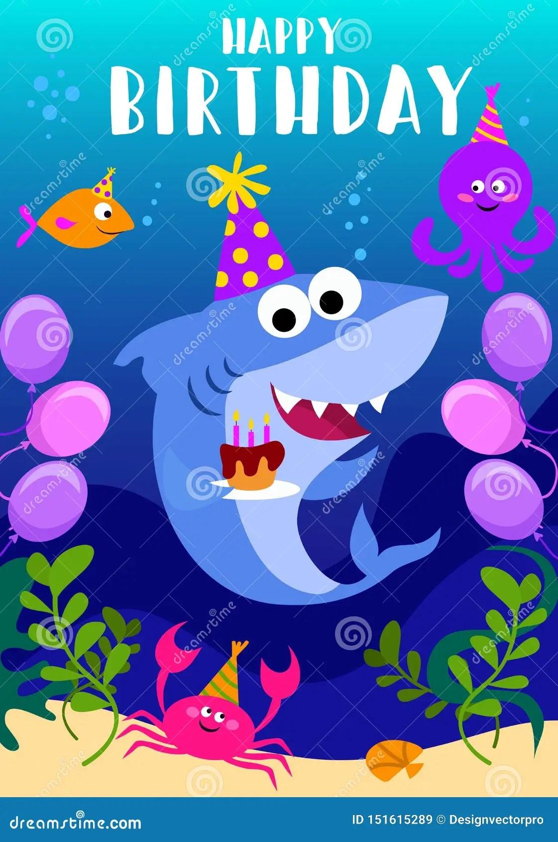 https www dreamstime com happy birthday greeting card shark octopus fish cartoon sea elements baby shark birthday greeting card template shark image151615289