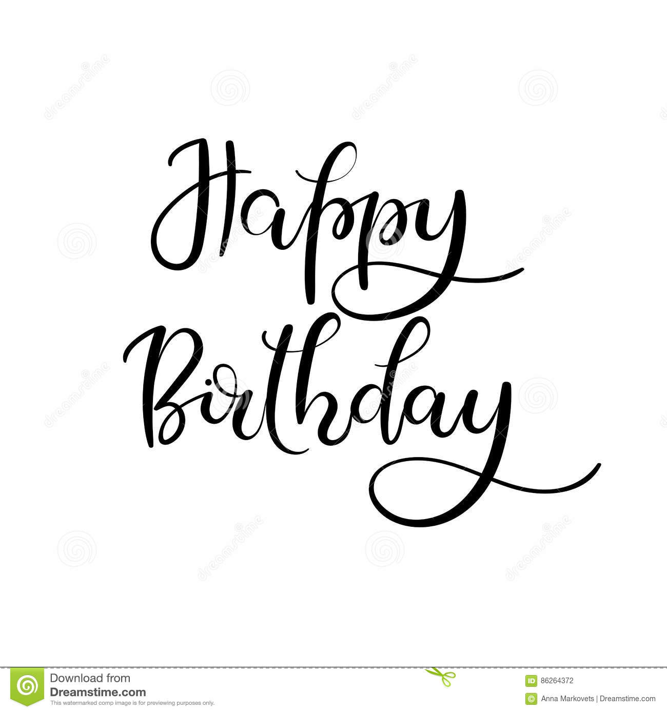 Happy Birthday Hand Lettering Greeting Card Modern