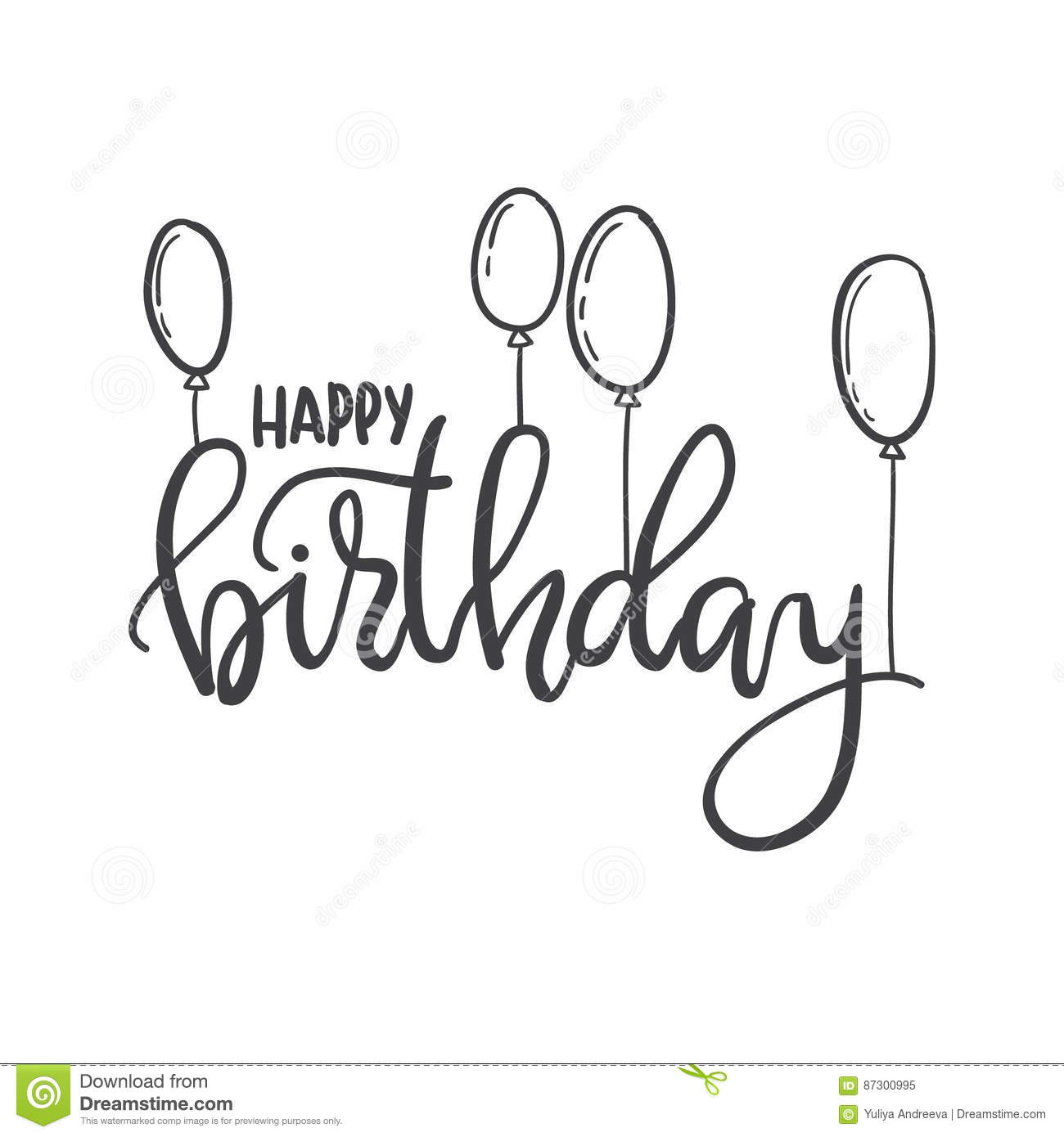 Happy Birthday Hand Lettering Typography Template For Posters Greeting Cards Prints Balloons Party Decorations Stock Illustration Illustration Of Message Font 87300995