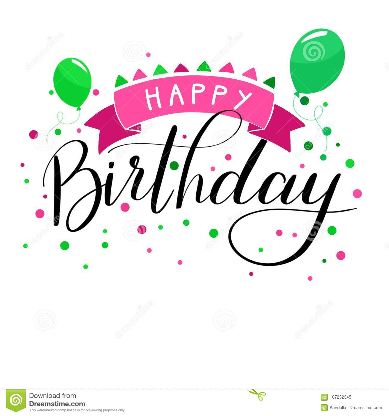 Happy Birthday Hand Written Pink Green Lettering Stock Vector Illustration Of Card White 107232345