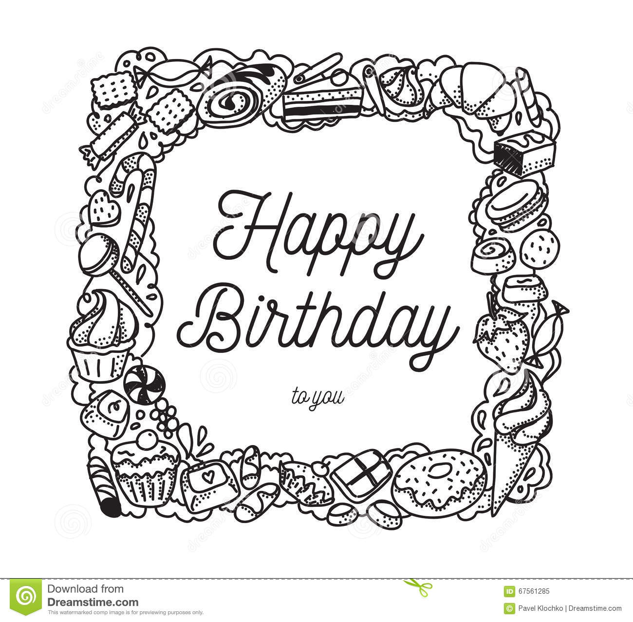 Happy Birthday Inscription Greeting Card With Calligraphy