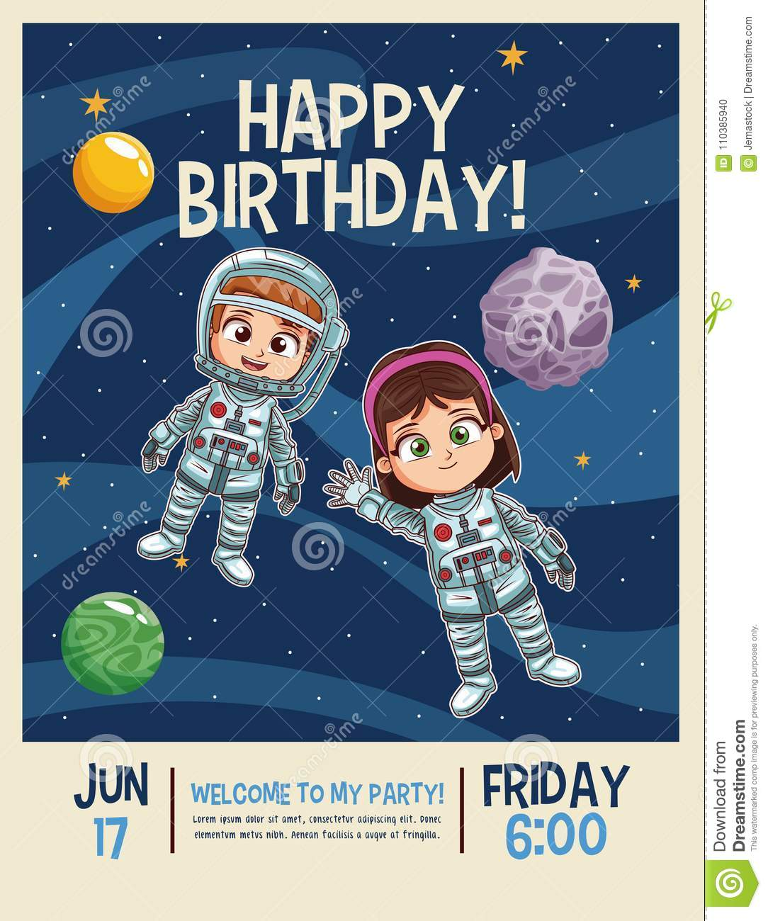 https www dreamstime com happy birthday invitation card astronauts kids cartoons vector illustration graphic design childhood space party happy birthday image110385940