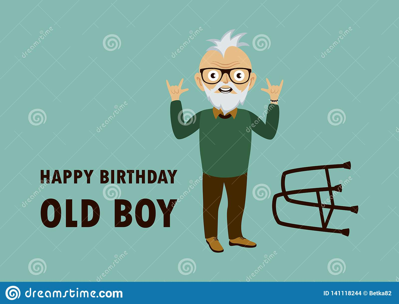 Happy Birthday Old Boy Vector Stock Vector Illustration Of Father Background 141118244