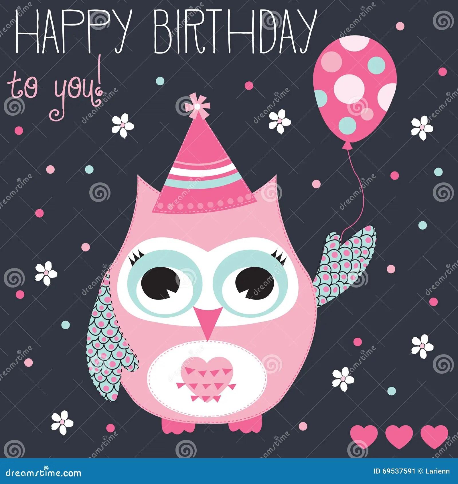 Happy Birthday Owl Vector Illustration Stock Vector Illustration Of Card Fashion 69537591