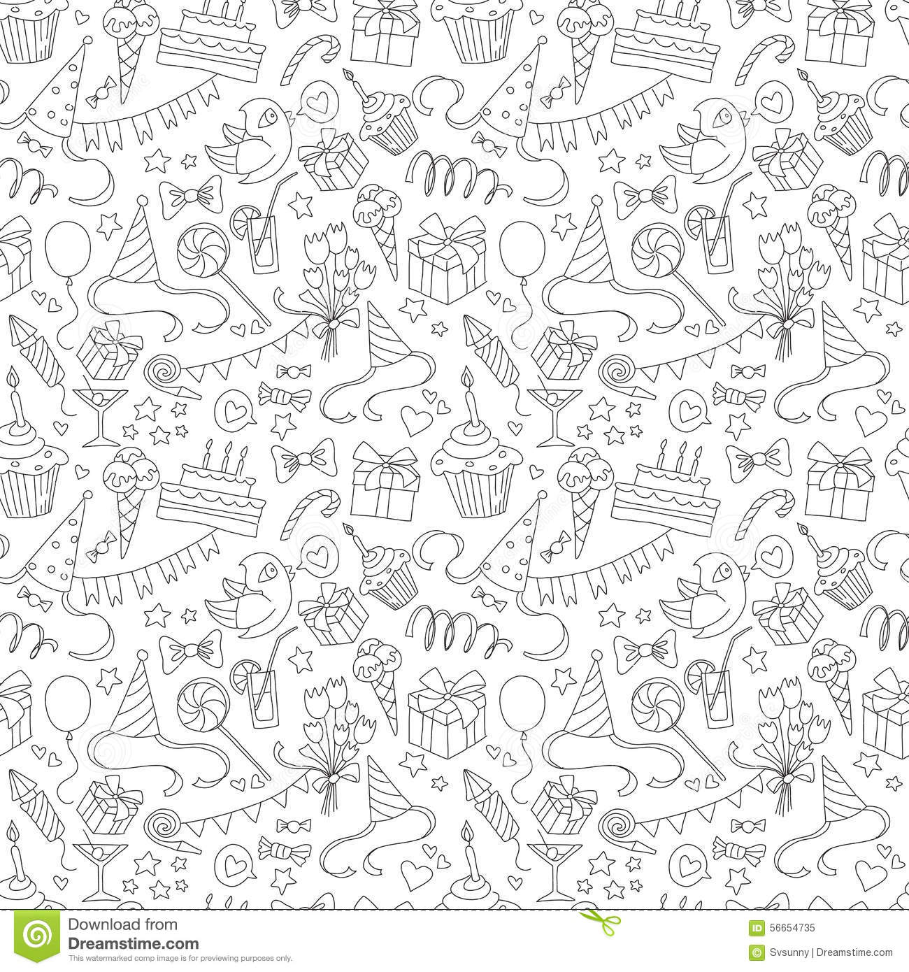 Happy Birthday Party Doodle Black And White Seamless