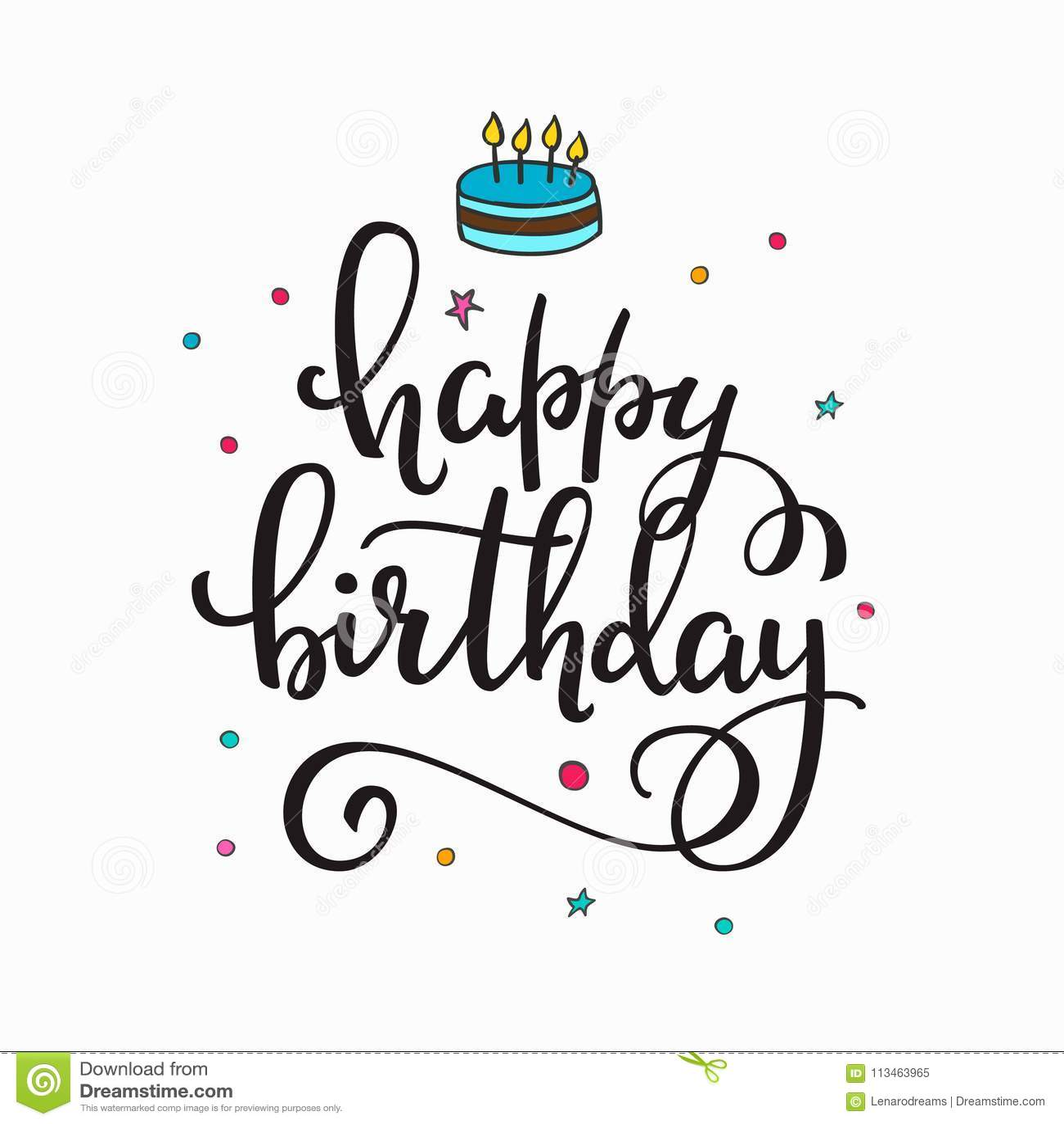 Happy Birthday Party Lettering Typography Set Stock Vector