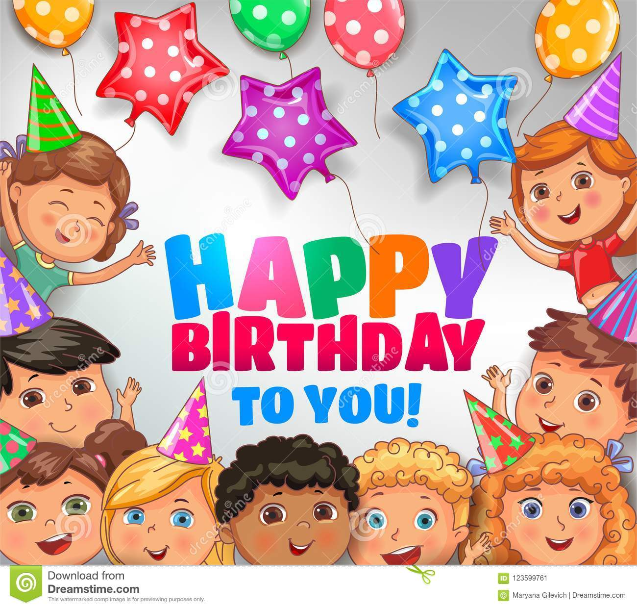 Happy Birthday To You Bright Design With Cute Children Stock Vector Illustration Of Celebration Holding 123599761